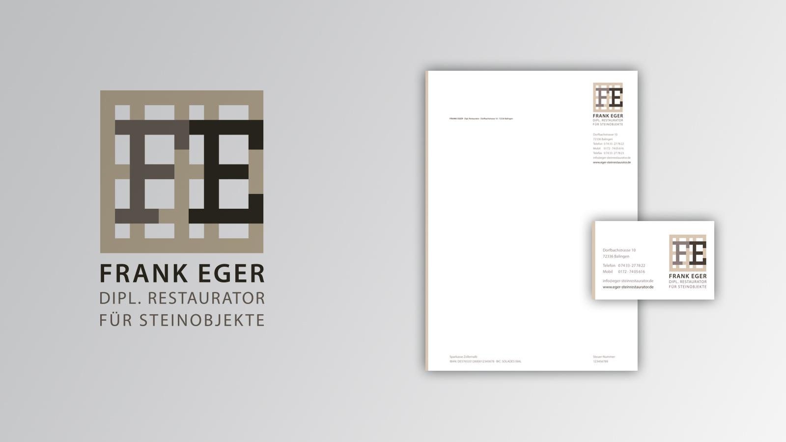 Geschäftsausstattung von Frank Eger, Dipl. Restaurator für Steinobjekte